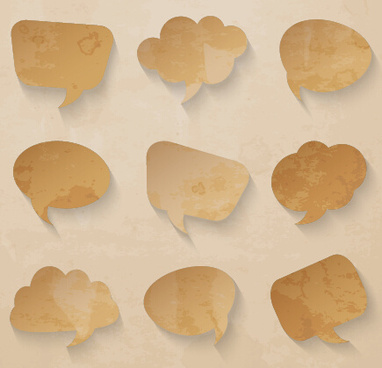 grunge paper speech bubbles design vector