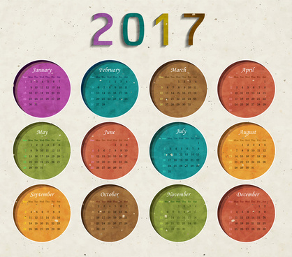 grunge retro circle style 2017 calendar templates