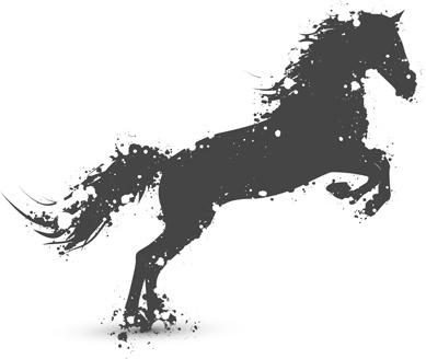 grunge running horse vector geaphic