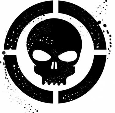 Grunge skull symbol