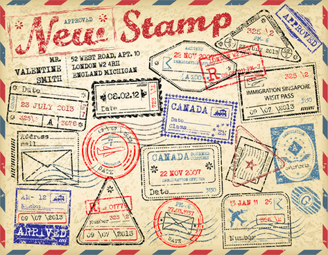 grunge travel stamps vector graphics