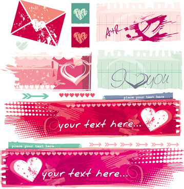 grunge valentines banners design elements