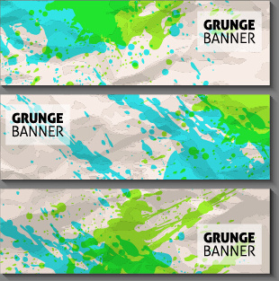 grunge watercolor banners set vector