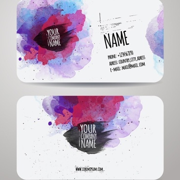 grunge watercolor business cards vector
