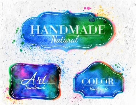 grunge watercolor label designs vector