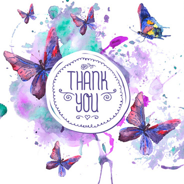 grunge watercolor with butterflies vector background