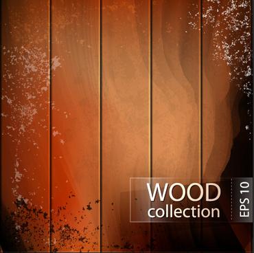 grunge wooden board vector background set