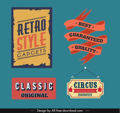 guarantee label templates retro design geometric ribbon shapes