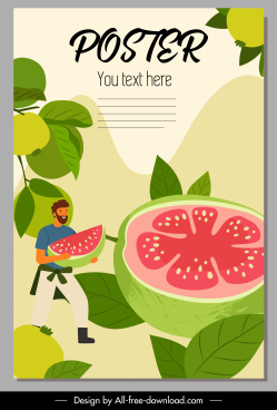 guava advertising poster huge fruits sketch cartoon design