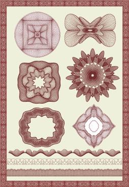 guilloche element with frames vector art