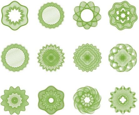 guilloche elements vector set