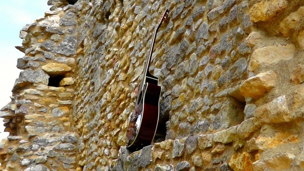 guitar and wall
