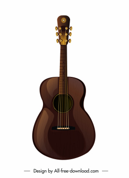 guitar icon shiny brown sketch