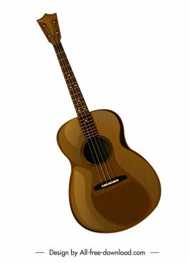 guitar instrument icon colored classical design