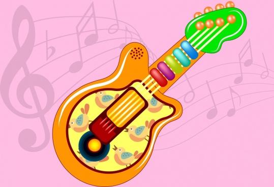 guitar toy icon colorful design birds decoration