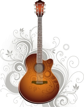 music background guitar icon classical curves decor