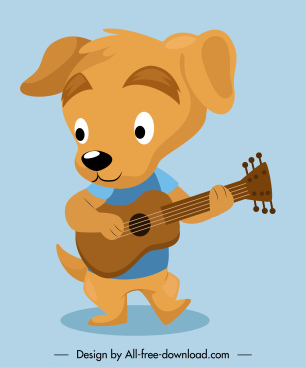 guitarist dog character icon funny stylized sketch