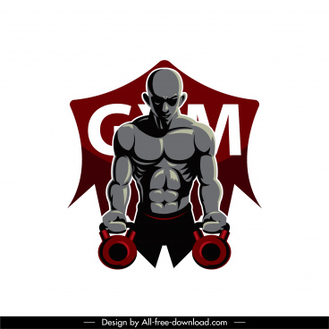 gym athlete icon muscular man sketch modern dark