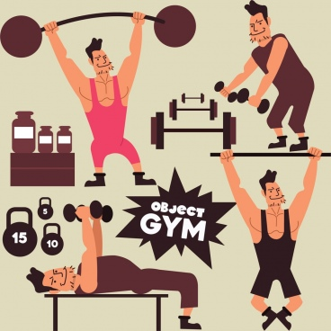 gym design elements athlete weight icons cartoon design