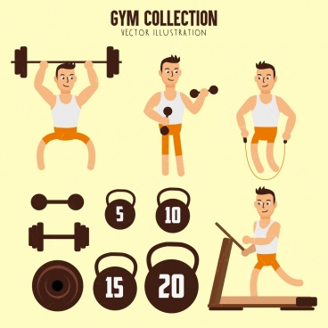 gym design elements man dumbbell icons
