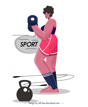 gym sport icon dumbbel woman sketch cartoon design