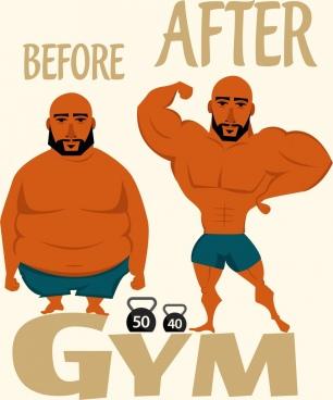gymnasium advertising fat bodybuilding men icons decor
