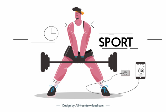 gymnasium athlete icon cartoon character sketch