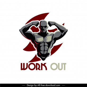 gymnasium icon muscle man sketch modern dark