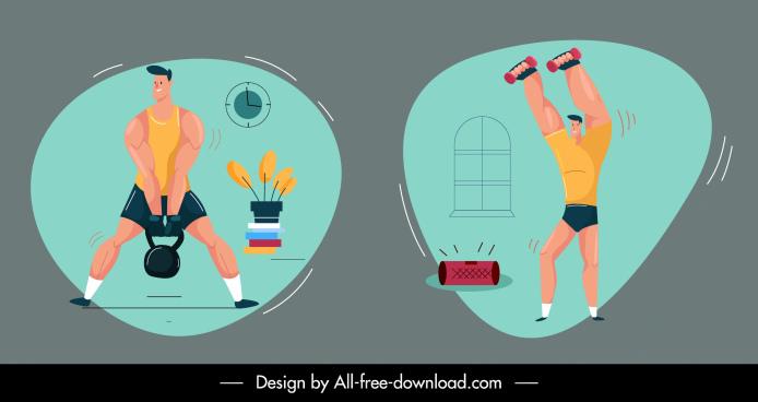 gymnasium icons colored handdrawn cartoon sketch dynamic design