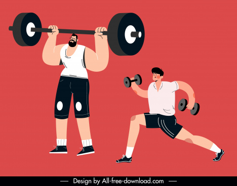 gymnasium sports icons cartoon characters sketch