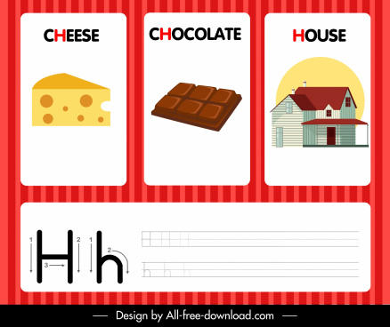 h alphabet education template cheese chocolate house sketch