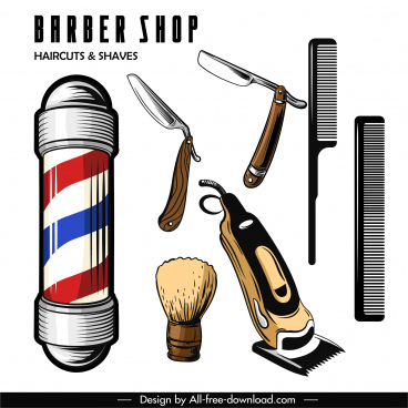 hairdressing design elements colored classical sketch