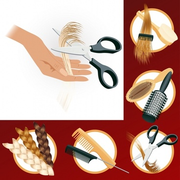 barbershop advertising design elements colored hairstyle accessories icons