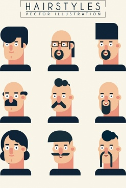 hairstyle collection male icons cartoon design