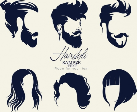 hairstyles collection man woman facial icons