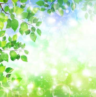 halation bubble with green leaves vector background