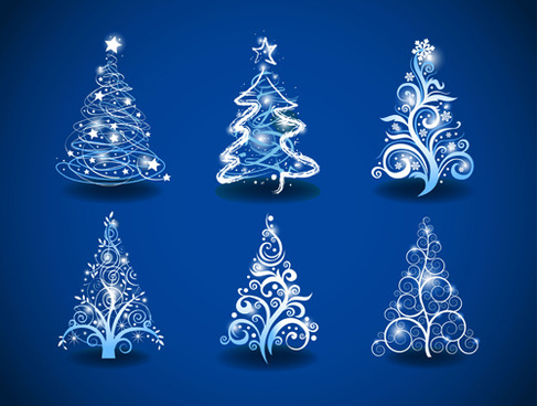halation christmas tree design vector set