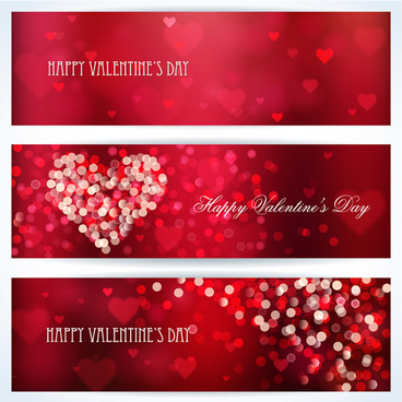 halation valentine red banners vector