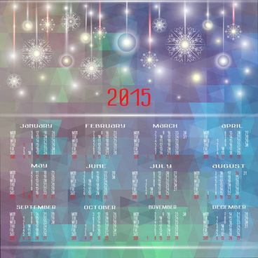 halation with snowflake15 calendar vector