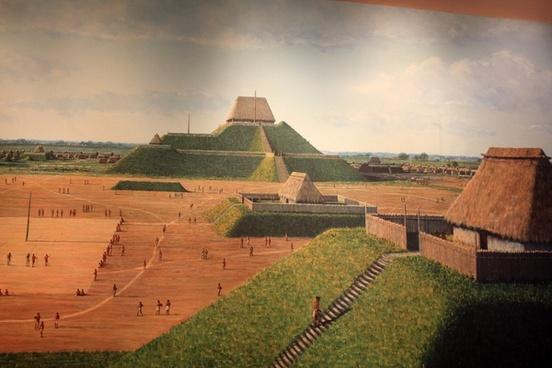 half picture of ancient cahokia at cahokia mounds illinois