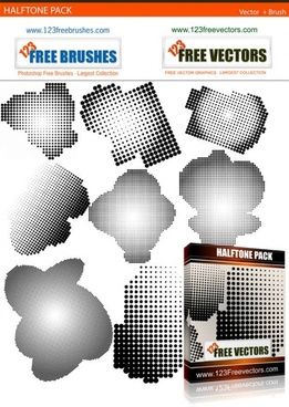 halftone free vector and photoshop brush