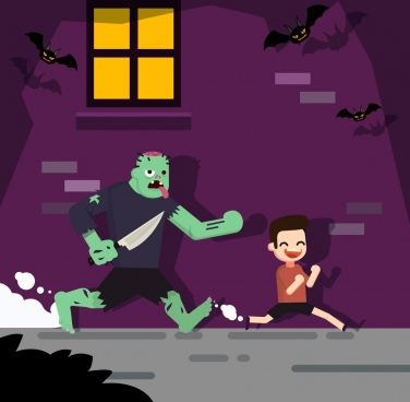 halloween background funny ghost chasing boy cartoon design