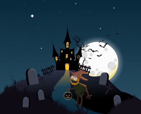 halloween background moonlight castle cemetery ghost icons