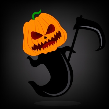 halloween background scary death icon pumpkin head decoration