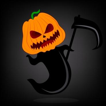 halloween background scary death icon pumpkin head decoration