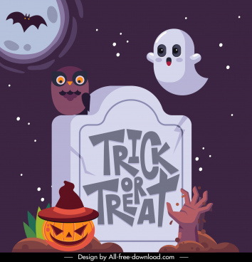 halloween background template tomb evil ghost sketch