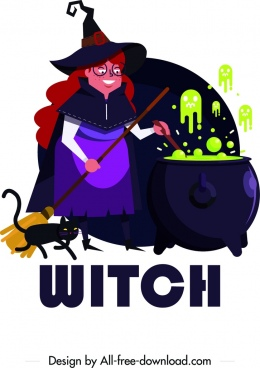 halloween background witch poison cat icons cartoon characters