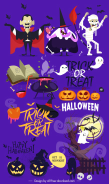 halloween banner colorful dark design horror characters sketch