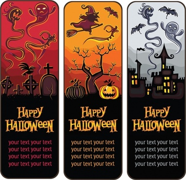 halloween card templates horror icons dark vertical design