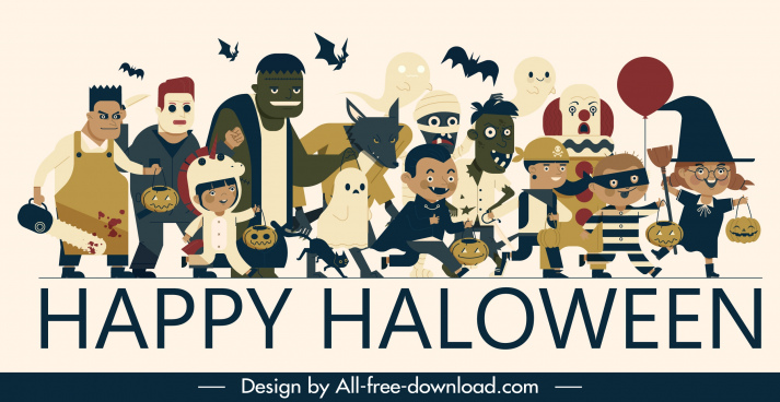 halloween banner funny horror costumes characters sketch